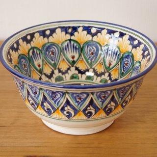 ウズベキスタン リシタンの陶器 お椀型 白 16cm 5