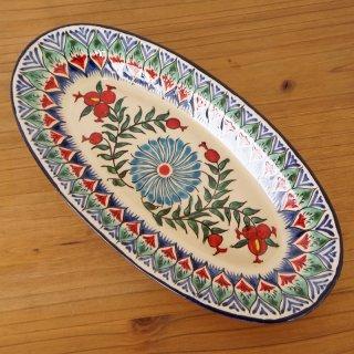 ウズベキスタン リシタンの陶器 ザクロ皿 オーバル6