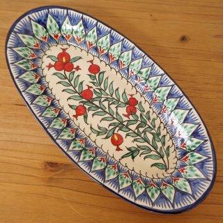 ウズベキスタン リシタンの陶器 ザクロ皿 オーバル7