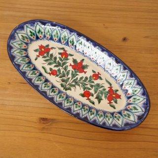 ウズベキスタン リシタンの陶器 ザクロ皿 オーバル8