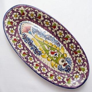 ウズベキスタン リシタンの陶器 ザクロ皿 オーバル9