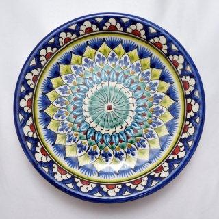 ウズベキスタン リシタンの陶器 皿 植物模様 15cm 3