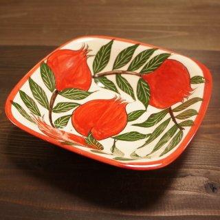 ウズベキスタン リシタンの陶器 ザクロ模様 四角皿 17.5cm