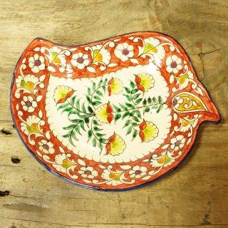 ウズベキスタン リシタンの陶器 葉型1
