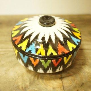 ウズベキスタン リシタンの陶器 アドラス模様 シュガーポット・蓋つきお椀1