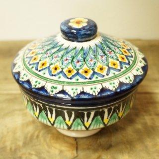 ウズベキスタン リシタンの陶器 アドラス模様 シュガーポット・蓋つきお椀2