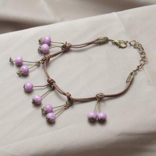 景徳鎮 陶器ビーズと紐のブレスレット 木の実 紫