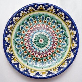 ウズベキスタン リシタンの陶器 皿 植物模様 15cm 7