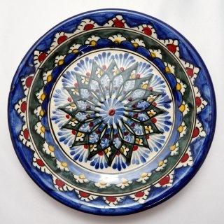 ウズベキスタン リシタンの陶器 皿 植物模様 15cm 8