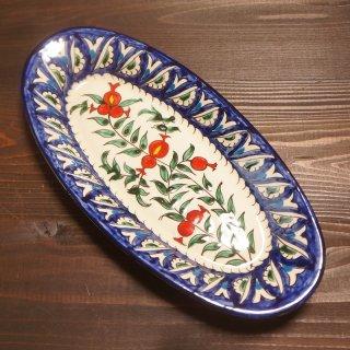 ウズベキスタン リシタンの陶器 ザクロ皿 オーバル11