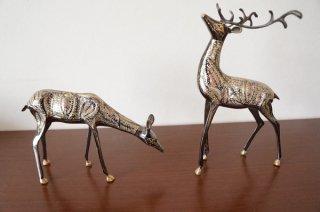 手彫り真鍮像 鹿セット 大サイズ