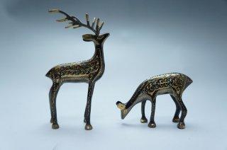 手彫り真鍮像 鹿セット 小サイズ