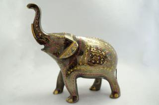 手彫り真鍮像 象:大サイズa