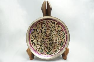 手彫り真鍮皿・中サイズ (皿立て・フック付属)