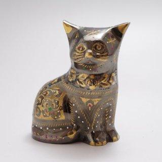 手彫り真鍮像 猫