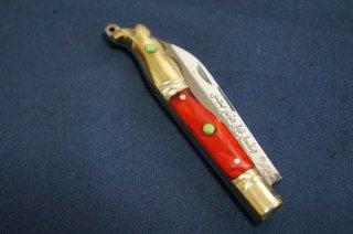 ウイグル人の伝統装飾ナイフ インギサナイフ 赤1(柄:真鍮、合成樹脂)