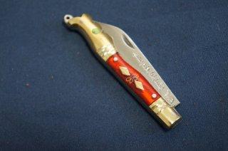 ウイグル人の伝統装飾ナイフ インギサナイフ 赤2(柄:真鍮、合成樹脂)