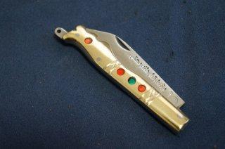 ウイグル人の伝統装飾ナイフ インギサナイフ 金(柄:真鍮、合成樹脂)