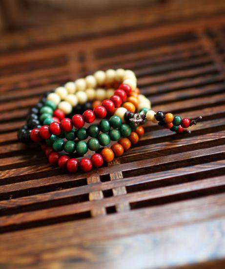 5色の菩提根のブレスレット