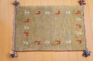 イラン・カシュガイ族の手作り絨毯 ギャッベ 90 x 60cm  -02-