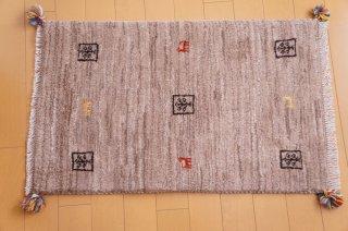 イラン・カシュガイ族の手作り絨毯 ギャッベ 90 x 60cm  -03-