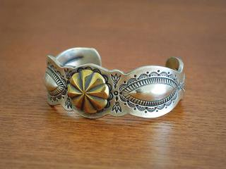 39320 Navajo stamp concho bangle