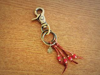 39322 Leather Fringe Thunderbird key holder