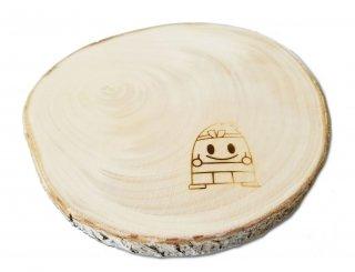 「木彫りの山二」特製 焼印入りイチョウの木コースター(サイズL)