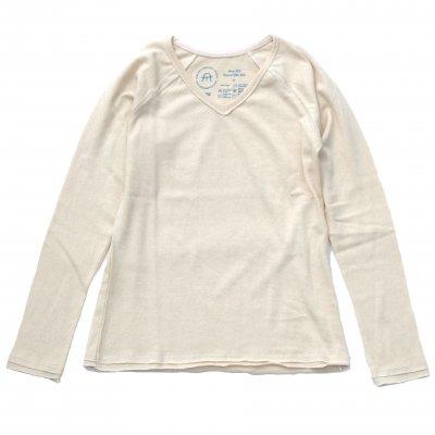 三宅商店オリジナル|Vネックラグラン長袖Tシャツ|生成り|レディース