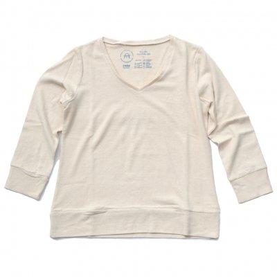 三宅商店オリジナル|Vネック長袖Tシャツ|生成り|レディース