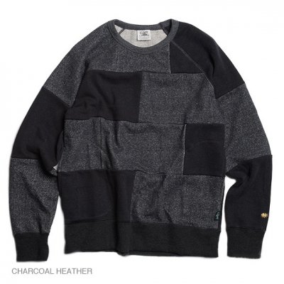 GO HEMP|CREW PK SWEAT|-PATCHWORK-|CHARCOAL|WOMEN