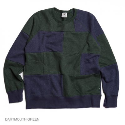 GO HEMP|CREW PK SWEAT|-PATCHWORK-|GREEN|WOMEN