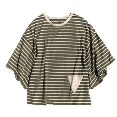 Botanic Green|Big Sleeve T Shirt|Border|Women