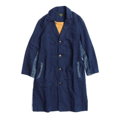 GO HEMP|CHESTER FIELD COAT / INDIGO NEL|UNISEX