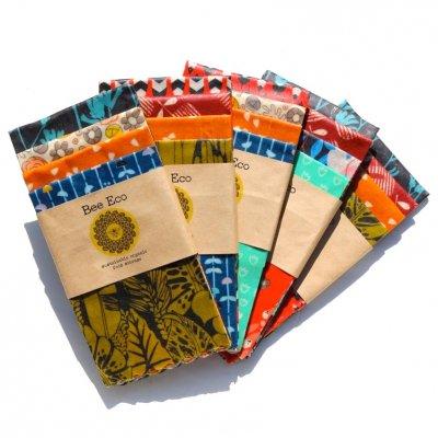 Bee Eco Wrap|天然素材のラップ|5枚組お徳用セット|ミツロウ×オーガニックコットン|繰返し使用可|