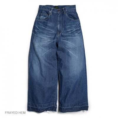 GO HEMP|WIDE DENIM PANTS / FRAYED HEM|WOMEN