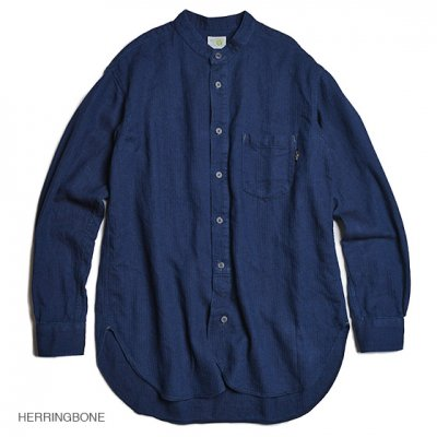 GO HEMP|NO COLLAR SHIRTS / MINI HERRINGBONE