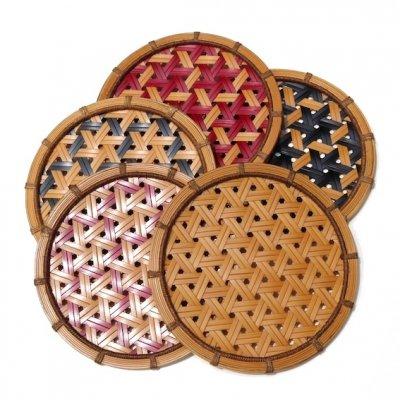 竹編みコースター 5枚セット|鉄線編み・漆仕上げ|ametuti