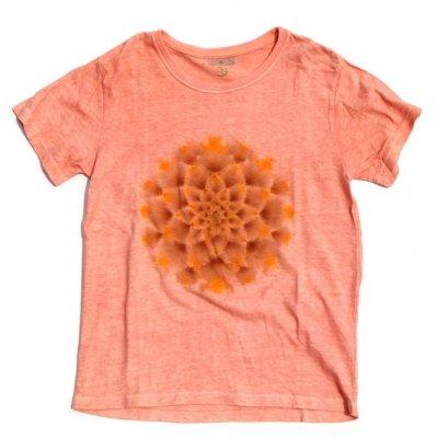 絞り染めヘンプTシャツ|大曼荼羅 [正面:茶×黄]|茜染め|S|視覚染色家Yogu × 三宅商店