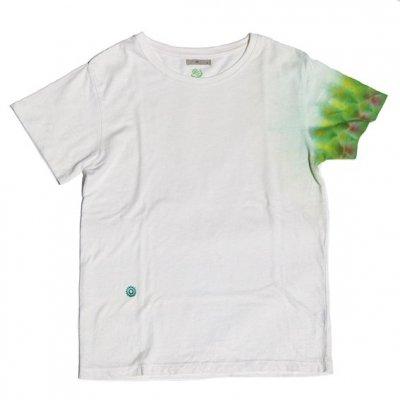 絞り染めヘンプTシャツ|袖絞り柄|緑×赤|S|視覚染色家Yogu × 三宅商店