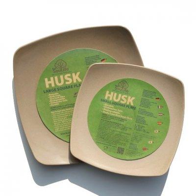 EcoSouLife|HUSK|スクエアプレートセット|お米の籾殻でできたお皿|通常価格1,944円