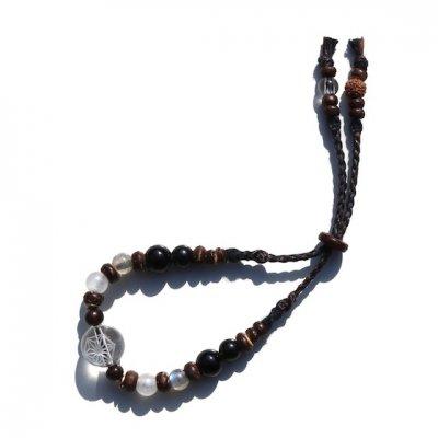 三宅商店 × SHAKTI STONE|12mmインド産ヒマラヤ水晶 麻柄ブレスレット|黒水晶