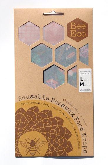 Bee Eco Wrap|天然素材のラップ|M/Lセット|ミツロウ×オーガニックコットン|繰返し使用可|