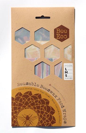 Bee Eco Wrap|天然素材のラップ|S/M/Lセット|ミツロウ×オーガニックコットン|繰返し使用可|