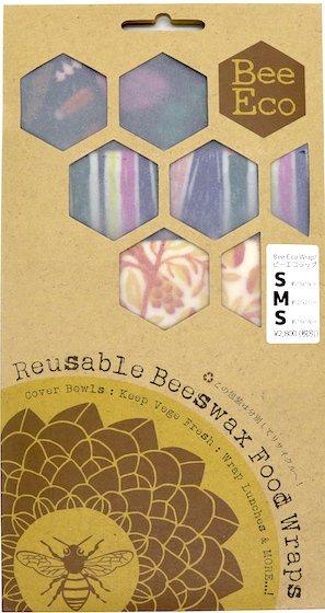 Bee Eco Wrap|天然素材のラップ|S/S/Mセット|ミツロウ×オーガニックコットン|繰返し使用可|