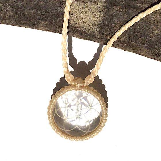 ガネッシュヒマール産 ヒマラヤ水晶ペンダント|『シードオブライフ』クリアクォーツ [太ひも]|�|SHAKTI STONE