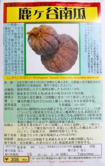 セール20%オフ|野口のタネ|鹿ケ谷かぼちゃ| 日本カボチャ。晩生ヒョウタン型。