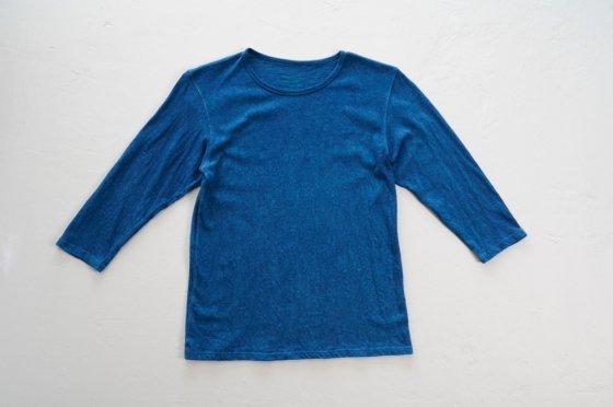 enishii|七分袖 Tee| ヘンプコットン|本藍染め|無地|中色|サイズL