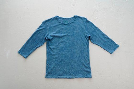 enishii|七分袖 Tee| ヘンプコットン|本藍染め|無地|淡色|サイズL