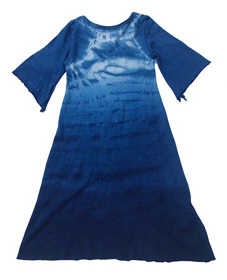 enishii|Vネックワンピース| ヘンプコットン|本藍染め|絞り&グラデーション|サイズXS